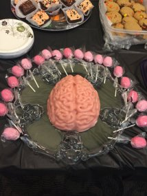 Jello brain mold with peppermint brain chocolate pops